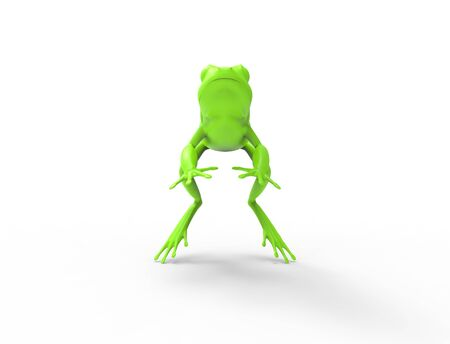3d rednering of a jumping frog isolated in white studio background. Stock Photo