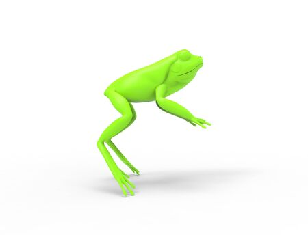 3d rednering of a jumping frog isolated in white studio background Фото со стока