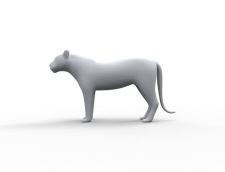 3d rendering of a lion silhouette is insolation studio background
