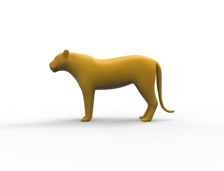 3d rendering of a female lion panther silhouette is insolation studio background. Stock Photo