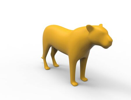 3d rendering of a female lion panther silhouette is insolation studio background. 스톡 콘텐츠