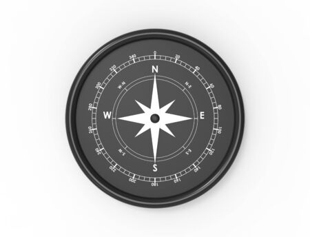 3d rendering of a compass north west south east isolated in white background. 写真素材