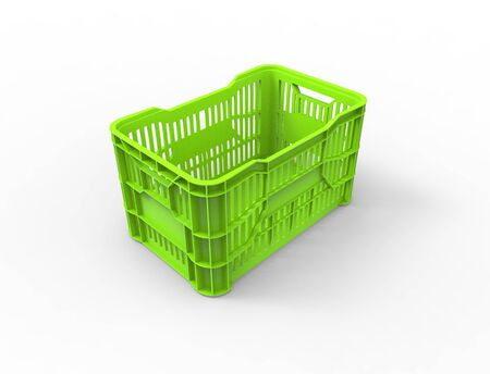 3d rendering of a stackable plastic storage crate box isolated in white studio background.