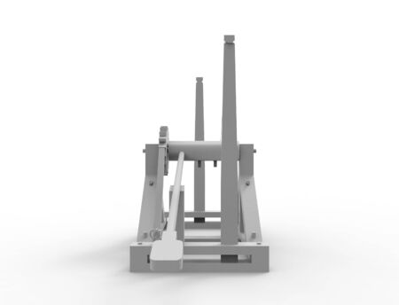 3d rendering of a Leonardo Da Vinci catapult isolated in white background.