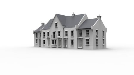 3d rendering of an english model country house mansion manor isolated in white background.