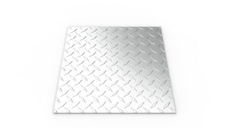 3d rendering of a metal diamond plate isolated in white studio background. Stock fotó