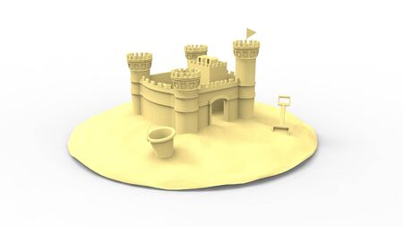 3d rendering of a sandcastle in some sand isolated in white background