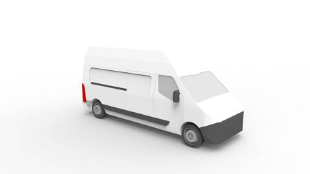 3d rendering of a utility van isolated in white studio background Stock Photo