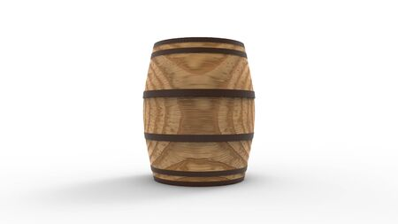 3d rendering of a vintage wooden barrel isolated in studio background Stock Photo