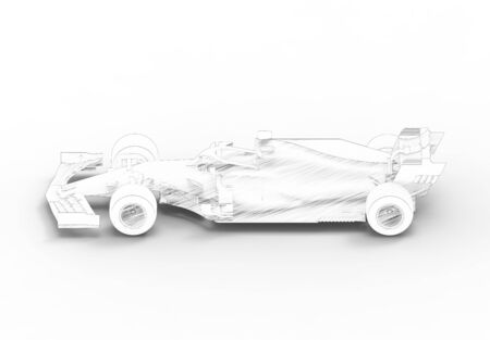 3D rendering illustration with of an modern all black formula race sport car isolated in white studio background that could be used as a template