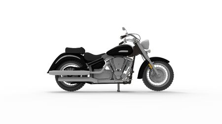 Motorcycle cruiser design sketch isolated in white studio background