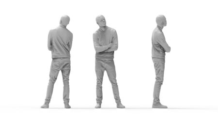 3d rendering of a computer model of a man standing in white studio background multiple views Zdjęcie Seryjne