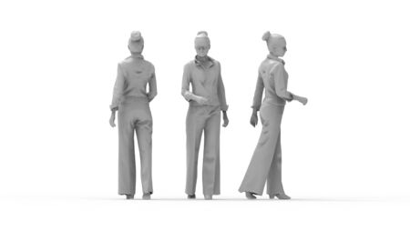 3d rendering of a woman walking isolated in white studio background