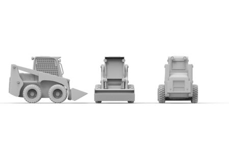 3d rendering of multiple views of a small excavator isolated in white studio background 스톡 콘텐츠