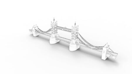 3d rendering of the Tower bridge in London isolated in white studio background Stock Photo