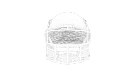 3d rendering of an american football helmet isolated in white studio background Stock Photo