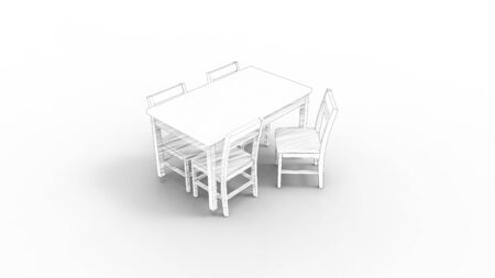 3d rendering of a table and chairs isolated in white studio background