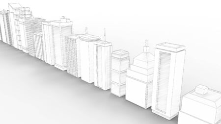 3d rendering of multiple buildings isolated in white studio background Stock Photo