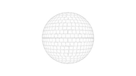 3d rendering sketch line drawing side view of a discoball isolated in white studio background Standard-Bild - 130914383