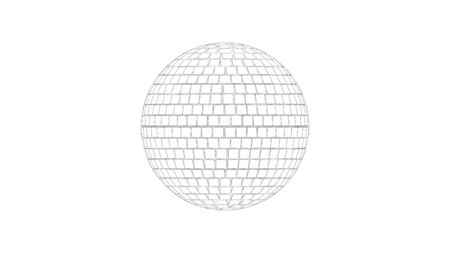 3d rendering sketch line drawing side view of a discoball isolated in white studio background Standard-Bild - 130914415