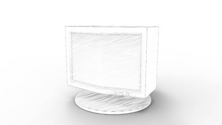 3d rendering of an old vintage computer monitor screen isolated in white studio background Stockfoto