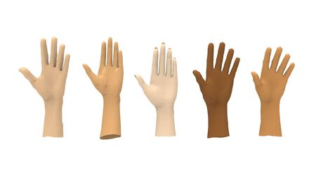 3d rendering of multiple computer modeld human hands isolated in white studio background 版權商用圖片 - 130817812