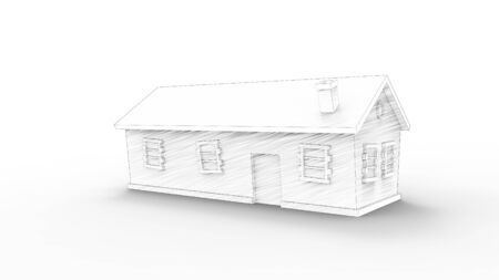 3d rendering of cartoon computer modeld houses isolated in white studio background 写真素材
