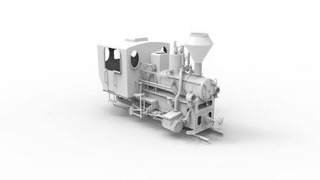 3d rendering of a vintage old locomotive isolated in white studio background Фото со стока - 131801155