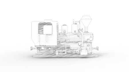 3d rendering of a vintage old locomotive isolated in white studio background