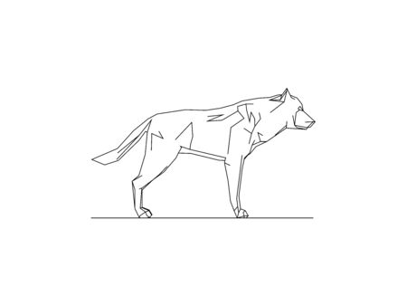 Vector illustration side view of a wolf isolated on a white background