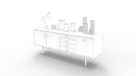 3d rendering of a cabinet isolated in white studio background. Stockfoto