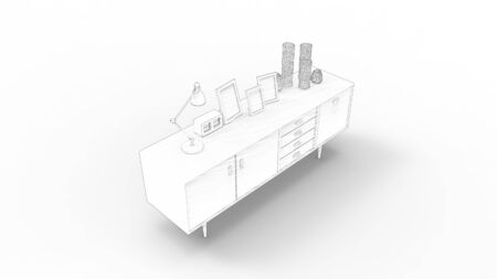 3d rendering of a cabinet isolated in white studio background. Banque d'images - 131802744