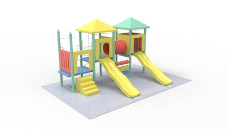 3d rendering of a playground structure isolated in white background