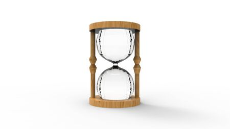 3d rendering of a hour glass isolated in white studio background