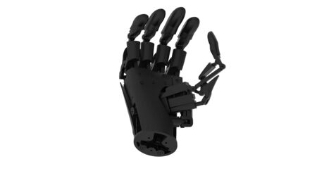 3d rendering of a robot hand isolated in white studio background Stock Photo