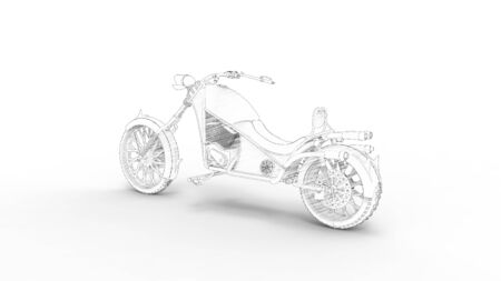 3d rendering of a concept cruising motorcycle isolated in white studio