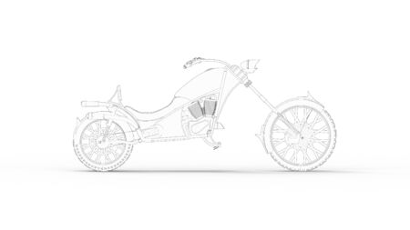 3d rendering of a concept cruising motorcycle isolated in white studio background Stok Fotoğraf