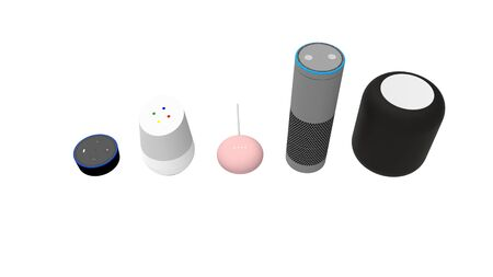 3d rendering of a collection of smart speakers on white studio background. Stok Fotoğraf