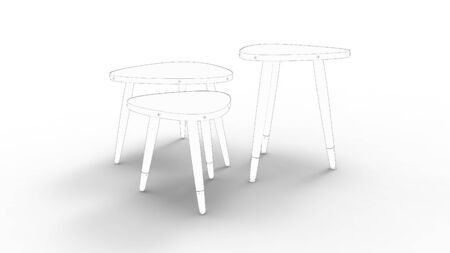 3d rendering of three sketched coffee tables isolated in white studio background.