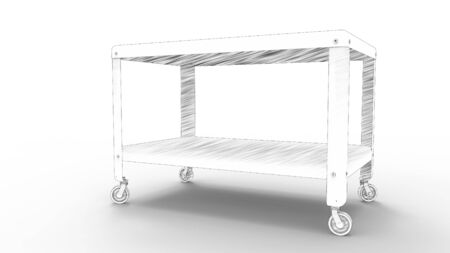 3d rednering of a coffee table on wheels isolated in white studio background