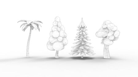 3d rendering of cartoon like trees isolated in white studio background