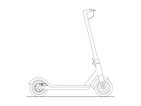 Detailled vector illustrationof an electric scooter isolated on white background