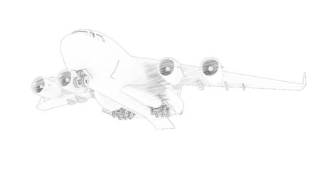 3d rendering sketch drawing of a millatary cargo plane isolated in white background