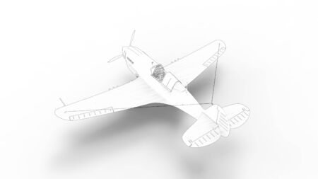 Line drawing illustration of a world war two fighter airplane isolated in white background