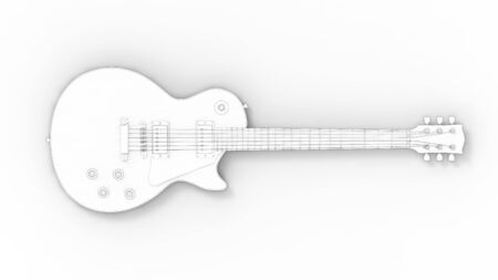 sketch illustration of a electronic guitar isolated on white background
