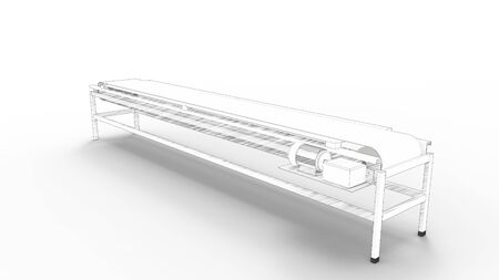 sketch line illustration of a manufacturing conveyor belt isolated in white studio background