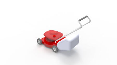 3d rendering of a lawn mower isolated in white studio background