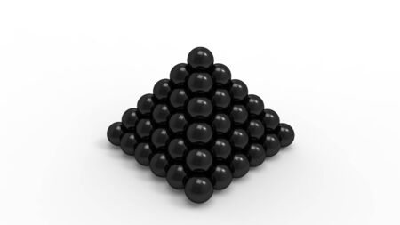 3d rendering of a pyramid of balls isolated in white studio background