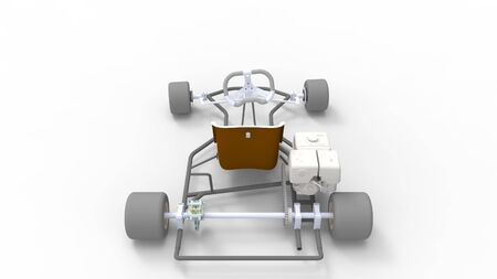 3d rendering of a go kart isolated in a white studio background Banco de Imagens - 133512827