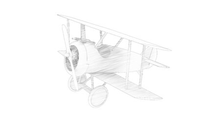 3d rendering of a world war 1 fighter bi plane isolated in white background Banco de Imagens - 133512835